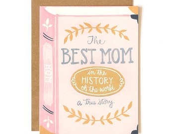 The Best Mom in the History of the World Illustrated Card // 1canoe2 // Mother's Day Card
