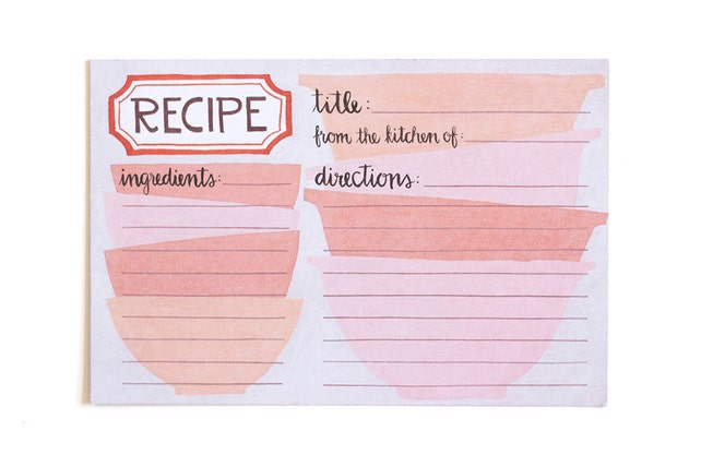 Pink Mixing Bowls Recipe Cards - Set of 50 // 1canoe2 // Hand Illustrated