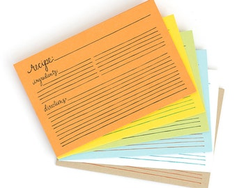 Letterpress Recipe Cards-42 Pack w/ Dividers // 1canoe2 // Hand lettered