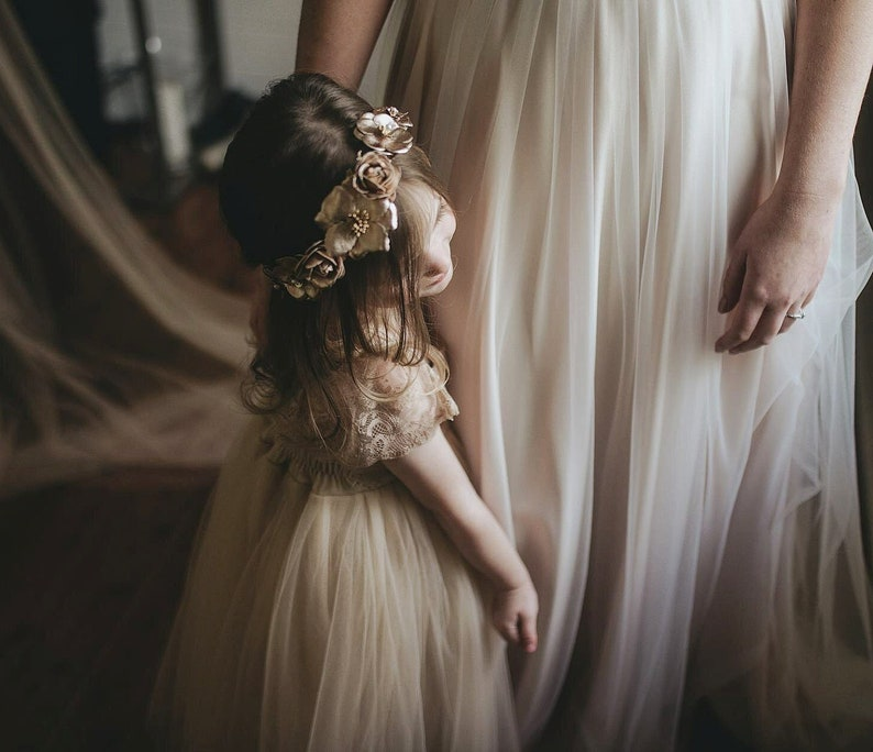 0305a5309 Gold Champagne Flower Girl Dress French Lace Gown Tulle Dress | Etsy