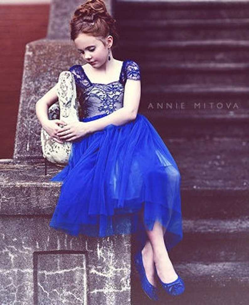 66d31971335 ROYAL BLUE Lace Tulle Flower Girl Dress Dresses Girls Baby