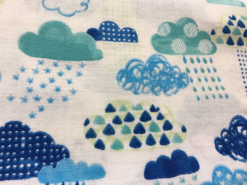Rain Cloud Fabric, Japanese Fabric, Double Gauze Cotton, Blue & Green  Clouds, Geometric Shapes Doodle - By the Yard - Half Yard