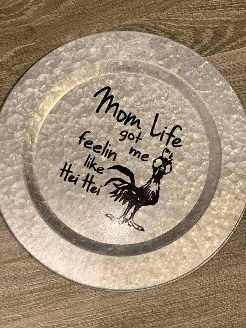 Galavanized Charter with Hei Chicken Mom Design in Black Vinyl image 0