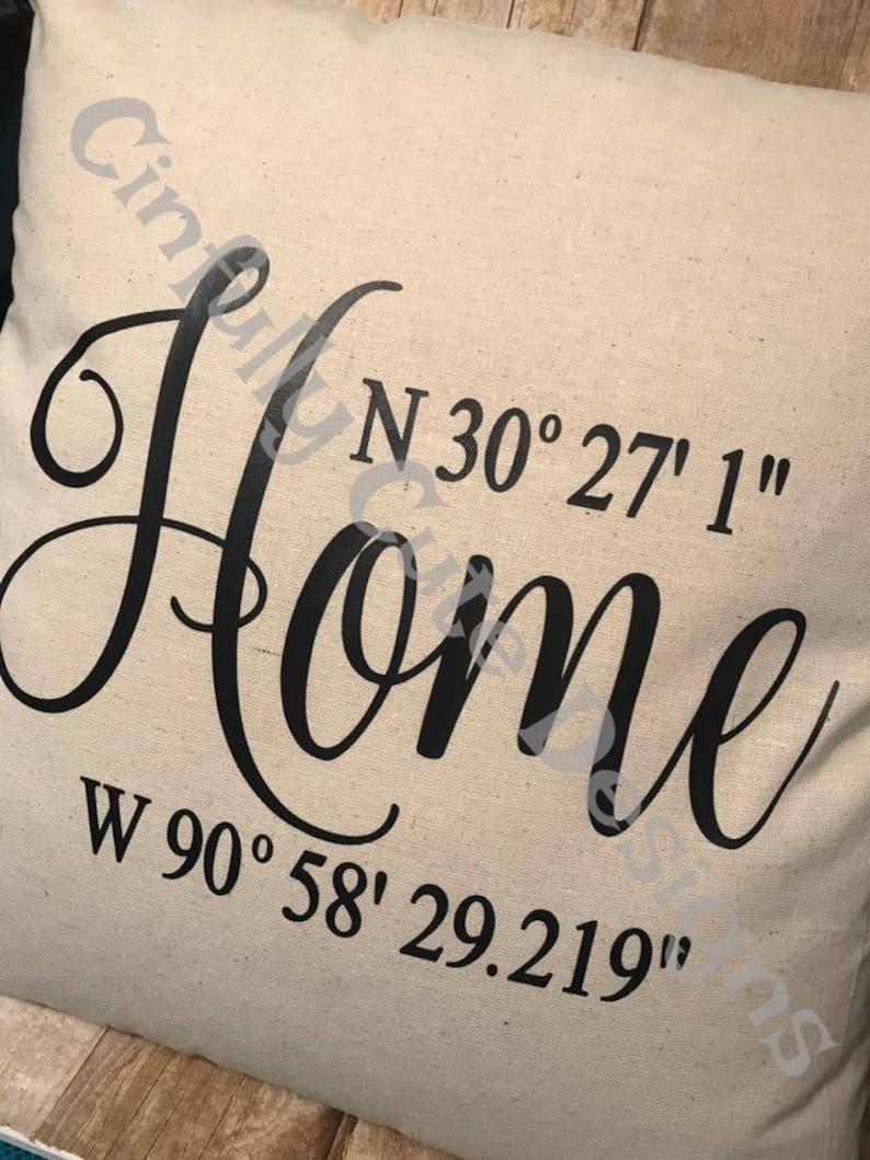 Home Coordinates Latitude Longitude Address Pillow Cover image 0