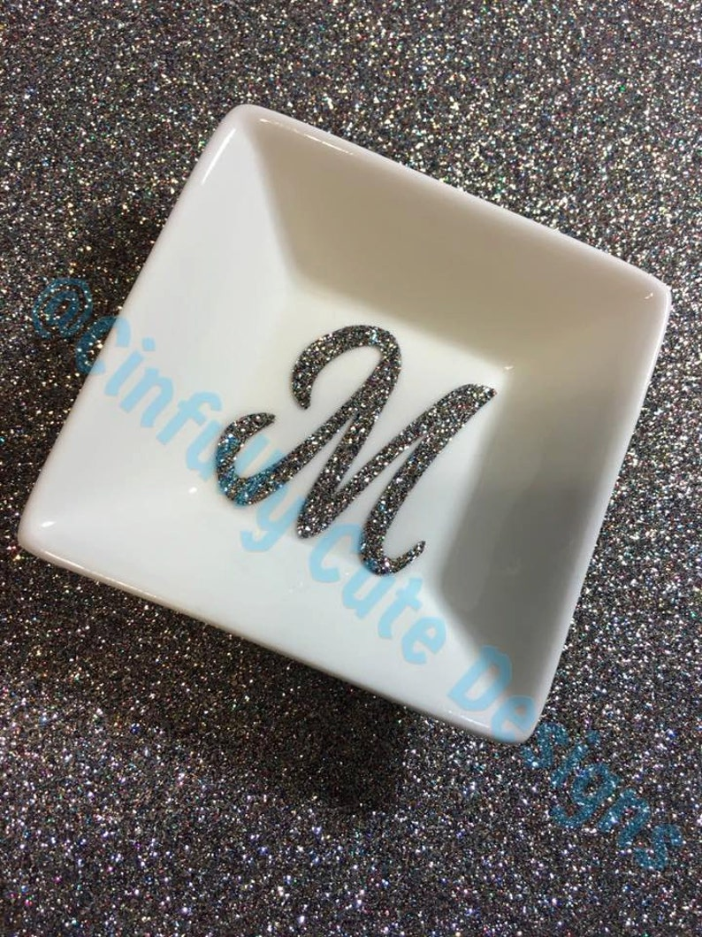 Bling-n-Ring Dish with Sparkly Glitter Initial Monogram or image 0