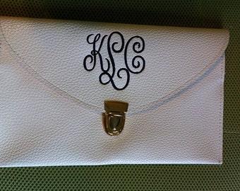 Faux Leather Envelope Clutch Purse Handbag Wristlet