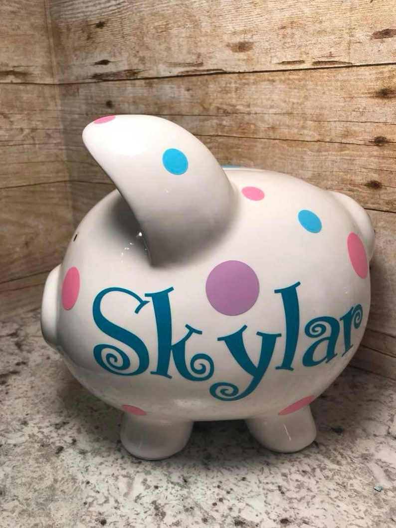 Personalized Monogrammed Piggy Bank Baby Gift Girl Boy image 0