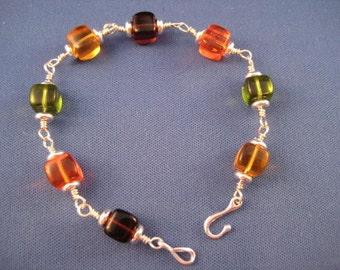 Sterling Wire Wrap Glass Cube Bracelet