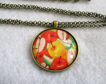 Sale Sale Sale * Red Yellow Green APPLES Apples & More APPLES Cabochon PENDANT Necklace