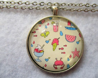 Tons of SUMMER FUN Colorful Cabochon PENDANT Necklace Ice Cream Watermelon