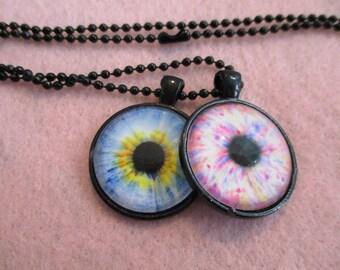 Set of 2 Cabochon PENDANTS with Necklace *** EYESeyesEYES Eyes
