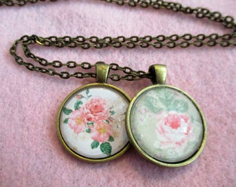 Set of 2 Cabochon PENDANTS with Necklace *** Pretty Soft Pink CABBAGE ROSES