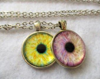 Set of 2 Cabochon PENDANTS with Necklace *** EYESeyesEYES & Eyes