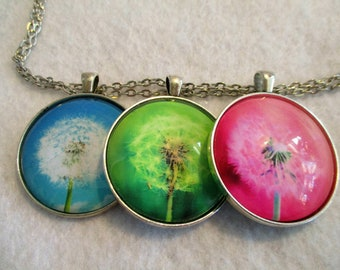 Set of 3 Cabochon PENDANTS with Necklace *** Charming Colorful DANDELIONS Seeds PINK Blue Green