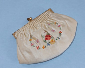 Vintage French Point-de-Beauvais Embroidery Change Purse Off White Unused