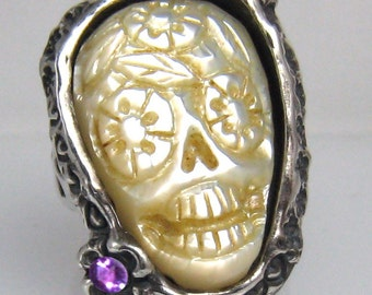 Pearl Carved Day of the Dead Ring Original one of a kind Carving with Amethysts  R013