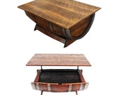 Adjustable Wine Barrel Coffee Table with Storage - Rustic