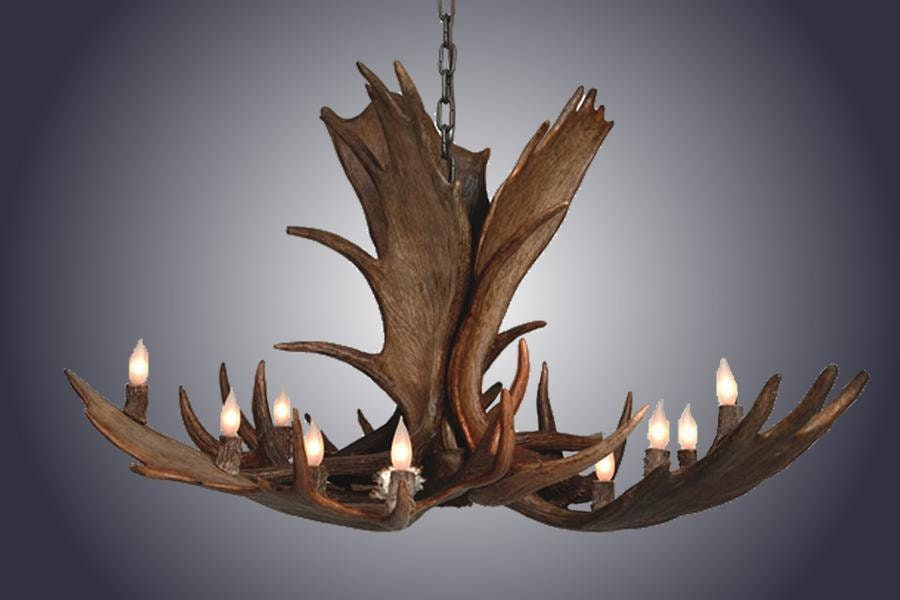Genuine Moose Antler Chandelier Custom Handmade 12 Lights - Large