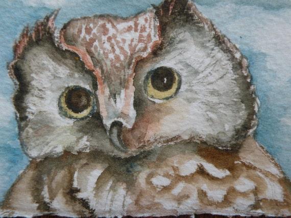 Aceo Original Owls Santa Painting Art Card Signed