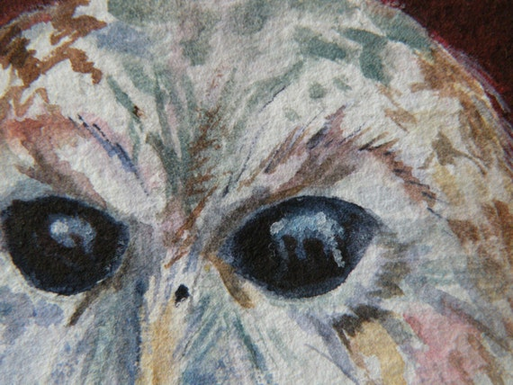 106 Owl Royal Night stared landscape colorful Folk Art watercolor illustration ATC by Bibartworkshop ACEO original N