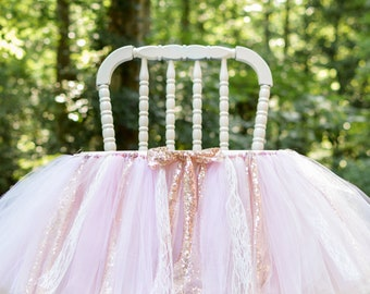 Pink And Gold High Chair Banner For Her First Birthday Party Cake Smash Rose White Glitter Tulle Fabric Ribbons One Decorations Garland Tutu