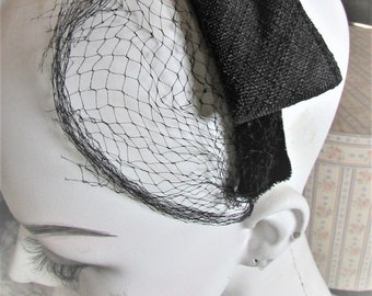 b11c52698e4ca Vintage 1960 s Hat Headband Hat Black Linen Bow w  Netted Veil Mid Century  Half Hat Cocktail Hat Fascinator