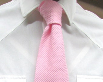 Vintage 1970's Tie Pink Polyester Knit Necktie for a Man Who Celebrates the Color of Love Which Knows No Gender