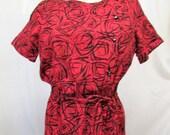 Vintage 1950 39 s 1960 39 s Dress Cotton Pencil Dress Red Black Mid Century Pattern Asymmetrical Edgy Modernist Print w Rhinestone Buttons