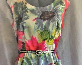 Vintage 1960's Dress Bold Flower Pattern Neon Pink with Blue, Green & White Cocktail Dress