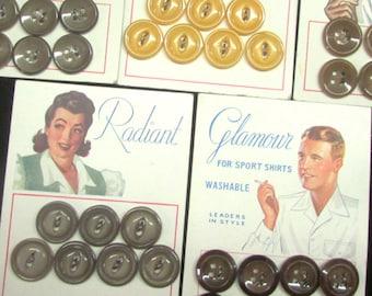 Vintage 1940's Buttons on Original Cards Lot of 5 Buy 1, 2, 3 ~ Fun Fun Fun!
