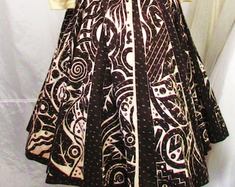 eef332712e Vintage 1950's Mexican Circle Skirt Tourist Skirt Brown & White Geometric n  Leaf Pattern Sequins Cotton Wrap Around ~ Label: Jorelle Model