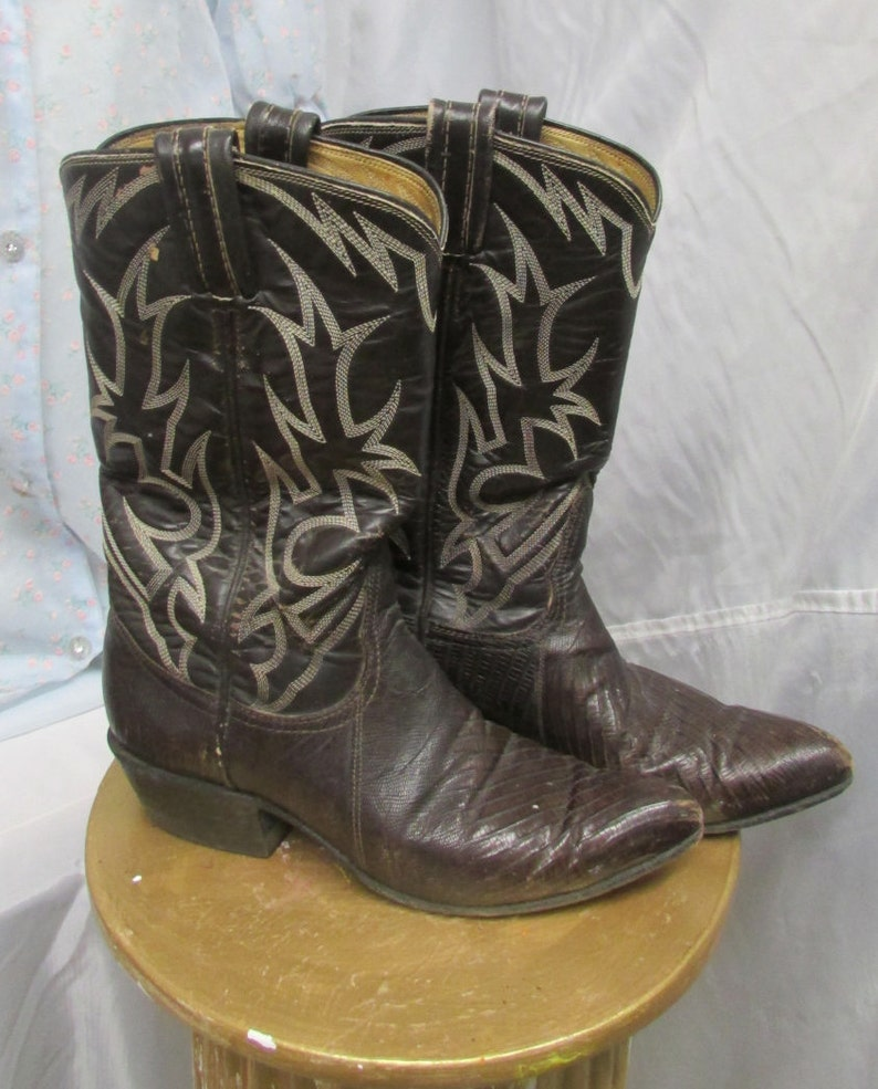 00f34762317 Vintage Boots Cowgirl Cowboy Boots Tony Lama Black Label Brown Snakeskin  Boots Women's Size 6
