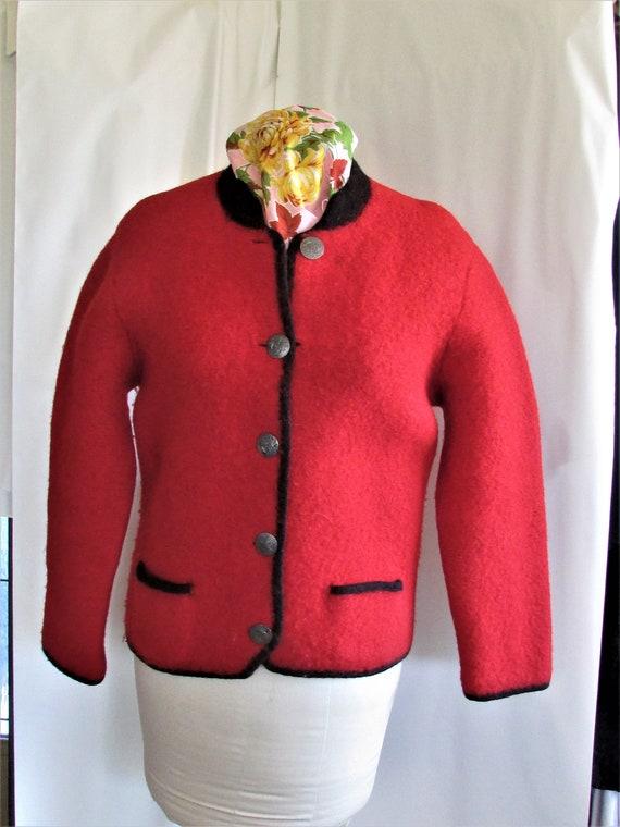 Vintage Cardigan Sweater Red Boiled Wool Austrian