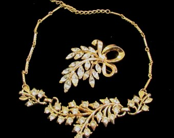Vintage Jewelry Signed Paired Set Diamond Rhinestone CORO Necklace and TRIFARI Brooch