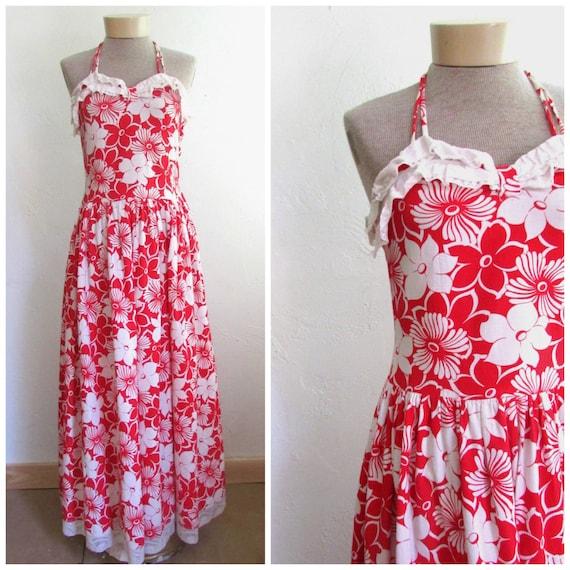 Vintage 1940's 1950's Dress Hawaiian Halter Top Ma