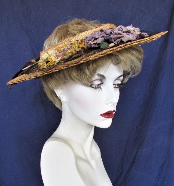 Vintage 1940's Hat Straw Sun Hat Ring Hat w Open … - image 2