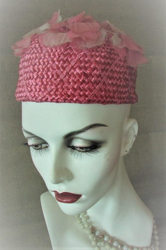 Vintage 1950's 1960's Hat Pink Flower Pillbox Hat