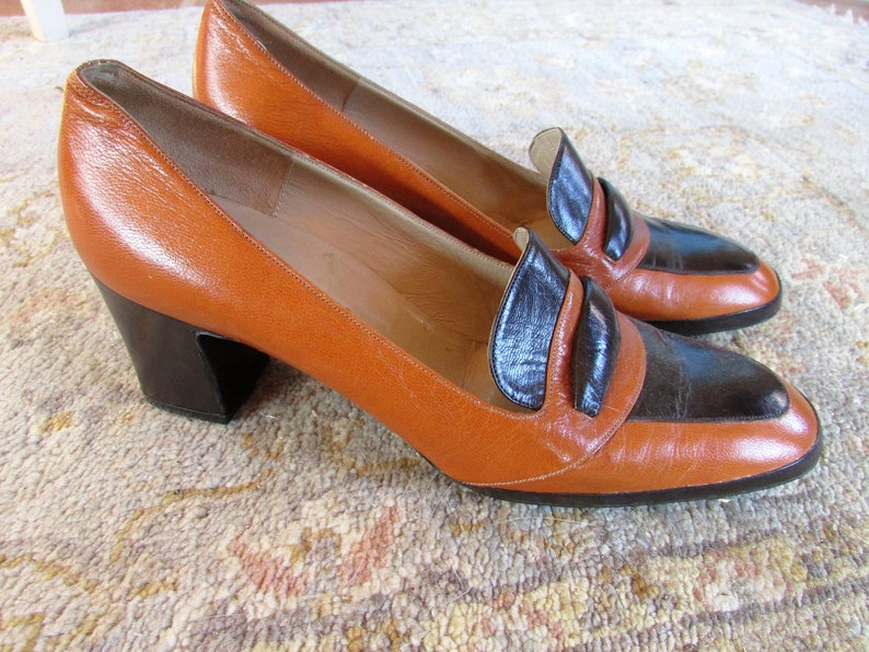 27d596dcfc229 Vintage 1970's Shoes Ladies Pumps Natale Ferrario Italian Leather Two Tone  Brown & Tan Business Heels Loafers 6 1/2 New Old Stock