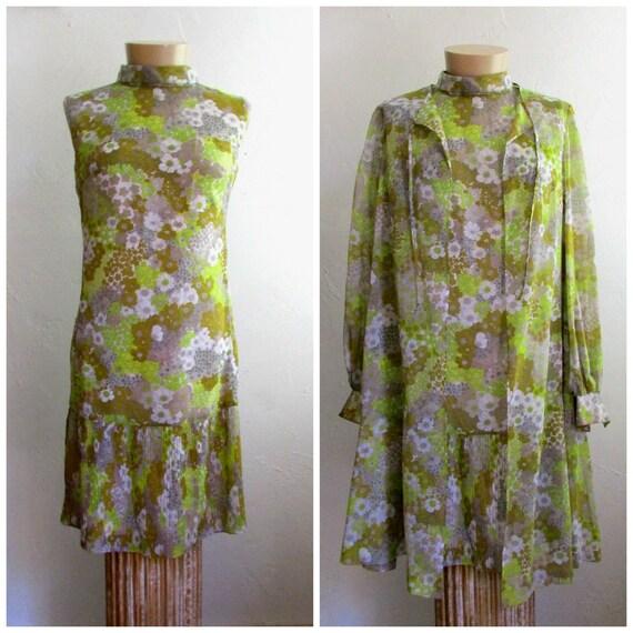 Vintage 1980's Does 60's Mod Dress & Coat 2 Piece