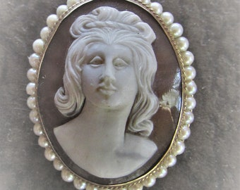 Vintage Mid Century Cameo Carved Sardonyx Shell & Genuine Pearls w 14K Gold Cameo Brooch or Pendant Frontal Facing Intricate Carving