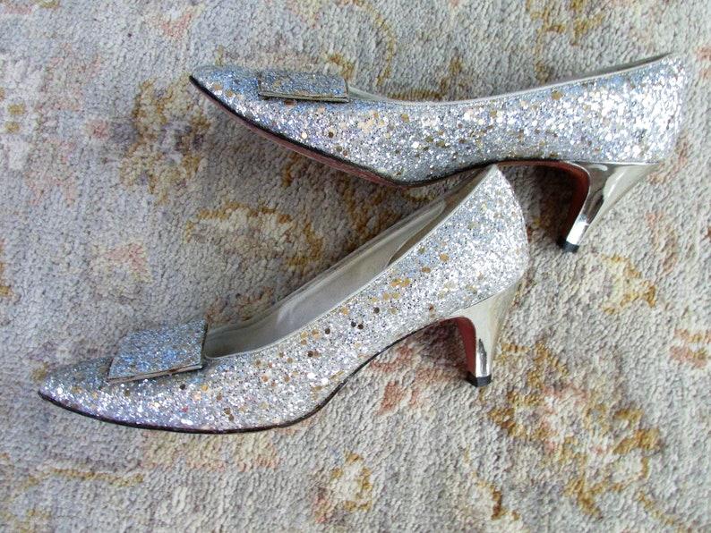 214b821b500c Vintage1960's Shoes Silver Glitter Pumps Square Toe Medium | Etsy