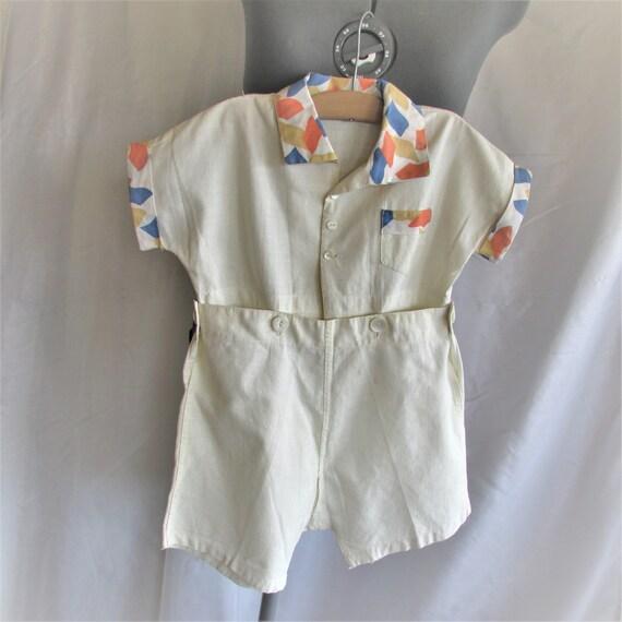 Vintage 1930's Onesie Twosie Baby Boy Outfit White