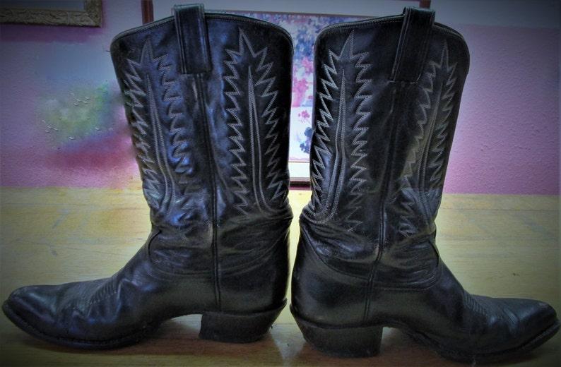 b17b1659bfd Vintage Cowboy Boots Tony Lama Black Leather Zig Zag Stitching Western Wear  Men's Shoe Size 9 D