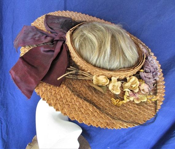 Vintage 1940's Hat Straw Sun Hat Ring Hat w Open … - image 1