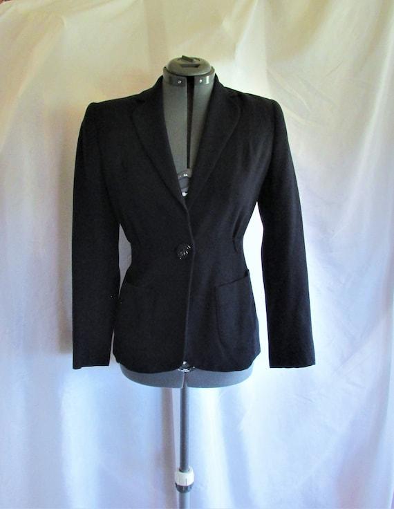 Vintage 1940's Jacket Dark Blue Wool Blazer Navy B