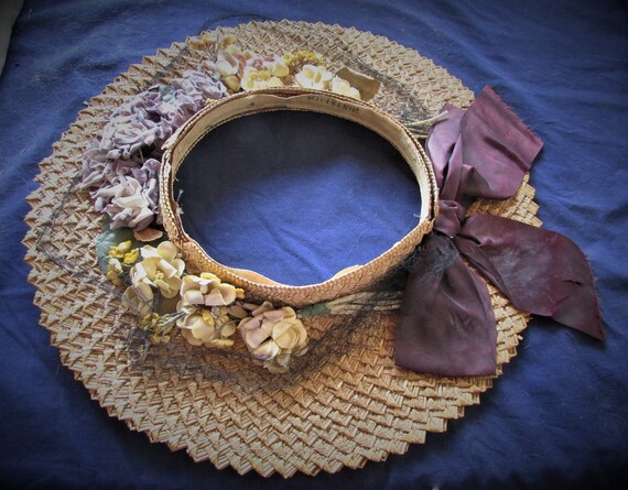 Vintage 1940's Hat Straw Sun Hat Ring Hat w Open … - image 3