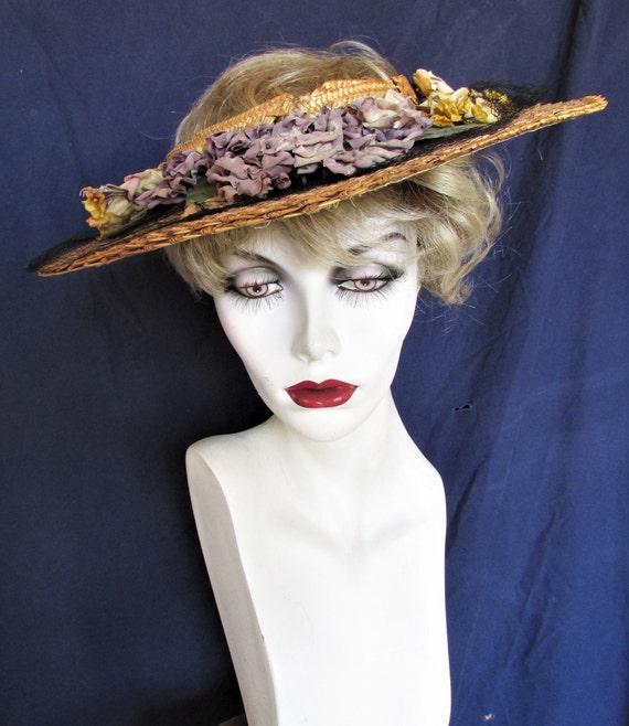 Vintage 1940's Hat Straw Sun Hat Ring Hat w Open … - image 9