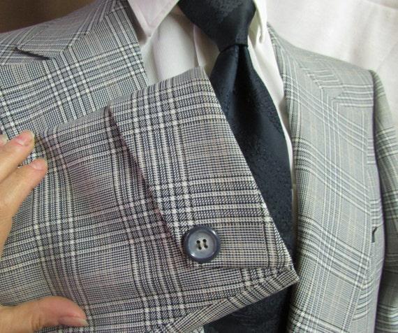 Des hommes Kingsridge personnalisé tissu large revers bleu Vintage des années 1970 Sport manteau Roper et blanc à carreaux 2 bouton veste