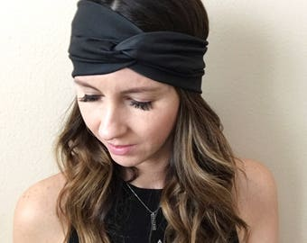 Wide Turban, Black Headband, Bohemian Head Wrap, Women's Boho Turban, Women's Head Wrap, Hippie, Twist Turban Headband, Extra Wide Head Wrap