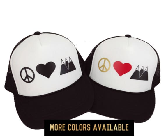 b17f3b58383 Peace Hat Peace Love and Mountains Women s Trucker Hat